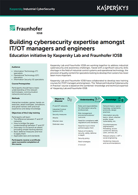 Building cybersecurity expertise amongst IT/OT managers and engineers