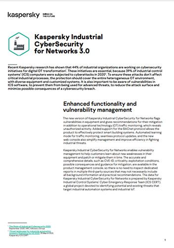 Kaspersky Industrial CyberSecurity for Networks 3.0